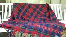 "Vintage Pendleton Wool Plaid Throw Blanket Fringe 70""x52"""