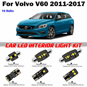 16 Bulbs Xenon White LED Full Interior Dome Light Kit For Volvo V60 2011-2017