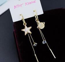 Star Tassel Earrings Fashion Jewelry Betsey Johnson Gold Rare Rhinestone Crystal