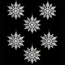 Christmas Tree Decoration 6 Pack Glitter Snowflakes DP - Choose Colour