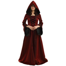Women Witch Dress Hooded Lace Up Dress Flared Sleeve Medieval Cosplay Halloween