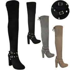 Womens Ladies Thigh High Boots Studded Strap Over The Knee Party Block Heel Size