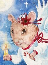 1.5x2 DOLLHOUSE MINIATURE PRINT OF PAINTING RYTA 1:12 SCALE XMAS MOUSE ANGEL ART