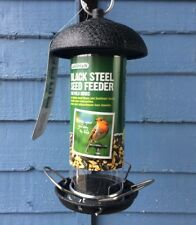 Gardman Black Steel Seed Feeder Wild Bird Hanging With FEEDSAFE LABEL