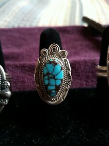 BISBEE 70S Spiderweb Turquoise Native American Ring Size 8.5
