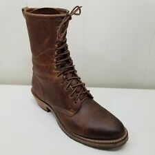 Double H Boots 10.5D Brown Leather High Tops Lace Up LACER Work Western