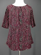 LIZ CLAIBORNE Top S Black Striped Pink White Liquid Knit Travel Oversized