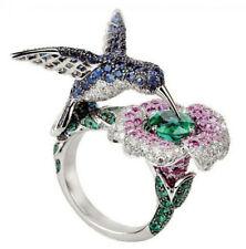 6.5CT Green&Blue&Pink Sapphire 925 Silver Women Wedding Engagement Ring Sz 6-10