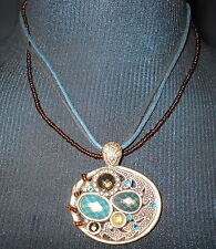 Pretty Multi Strand Pendant Necklace Teal Turquoise