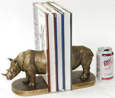Art Deco Detailed Handcrafted Animal Rhino Rhinoceros Bookends Bronze Effect LRG