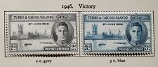 Turks and Caicos KGVI 1946 Victory Set of 2 Stamps SG206-7 Mounted Mint