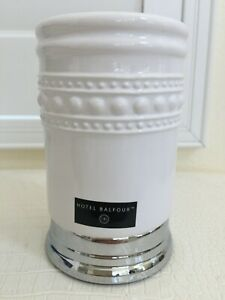 """HOTEL BALFOUR Tooth Brush Holder Cup Ceramic Porcelain with Chrome Base 5""""X3"""""""