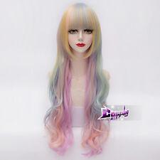 Colorful Long Curly Wig Rainbow Unicorn Gothic Lolita Cosplay Drag Race Wig