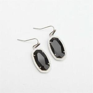 Kendra Scott Dani Silver Tone Earrings in Black