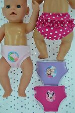 "Play n Wear Doll Clothes For 17"" Baby Born  3 REUSABLE NAPPIES~RUFFLE PANTS"