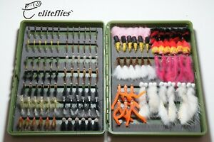 eliteflies 132 variety box fly fishing flies wet dry blob fab zonker worm lures