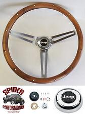 "1959-1963 Jeep CJ3 CJ5 CJ6 steering wheel 15"" MUSCLE CAR WALNUT"