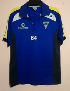 WARRINGTON WOLVES RUGBY LEAGUE CLUB STAFF ISSUE BLUE POLO SHIRT # 64 SIZE L VGC