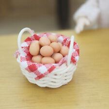 HK- Mini Miniature Bamboo Egg Basket Toy Dollhouse Kitchen Decor Accessory Sanwo