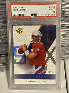 2000 Tom Brady SPx #130 Rookie Rc PSA 9 Patriots #/1350 Mint
