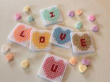 "Handmade Plastic Canvas Needlepoint Valentine Magnets Candy Hearts ""I Love U�"