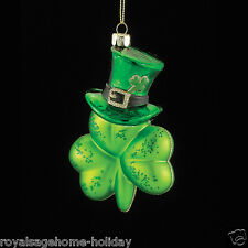 "NB1012 Noble Gems 5.1"" Irish Shamrock w/Top Hat Glass Ornament St. Patrick's Day"