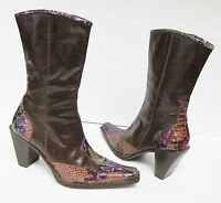 ENZO ANGIOLINI Morisa Western Boots Brown Leather Reptile Trim Italy Size 6.5 M