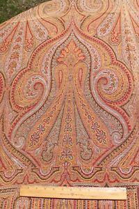"Antique 19thC Big Frame Wool Woven Kashmir Shawl~64""Square"