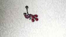 Pink Crystal Peacock Bird Belly Button Navel Ring Body Jewelry Piercing
