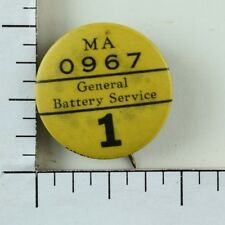 1930's General Battery Service Employee Original Vintage Pinback Button