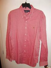 NWT Mens Large Polo Ralph Lauren Chambray Oxford Red/White Long Sleeve Shirt