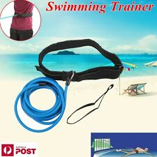 Swim Bungee Trainer Belt Swim Resistance Leash Stationary Swimming System Blue