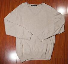 ZARA MAN Men's V-Neck Sweater Size LARGE Tan