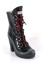 Women Black Hunter Gabby Gloss Black Rain Boots Heel Lace Size 6M 7F 6/7 38
