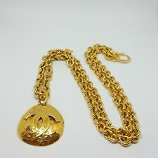 Authentic Rare Vintage Chanel Large CC Logo Gold Quilted Necklace Pendant Chain