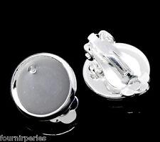 50 Paires Supports Pince Clips Boucle d'oreille couleur Argenté 16x14mm B22706