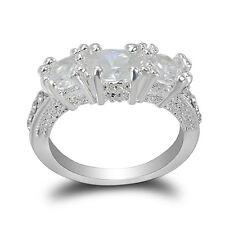 New 925 Silver White Sapphire Birthstone Wedding Engagement Jewelry Ring Sz 6-10