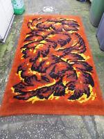Vintage carpet design 70's ancien tapis en laine déco loft pop space age !!