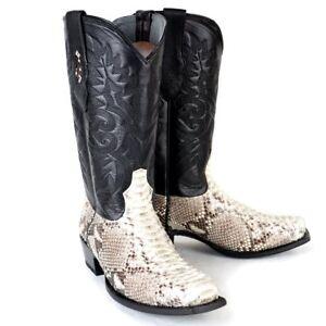 LOS ALTOS MEN NATURAL GENUINE PYTHON SNAKE COWBOY 7 SQUARE TOE BOOT 585749 (D)