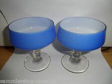 19989 2 Sektschalen Art Deco Bauhaus Blau blue Überfang Sektglas champagne glass
