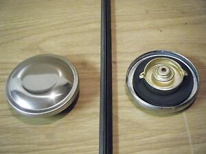 67 68 SAAB Deluxe V4 V-4 Stainless Chrome Gas Fuel Cap Petrol Tank Lid Cover