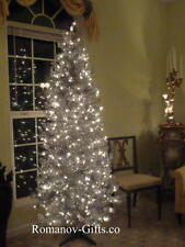 SILVER Slim Pre-Lit Clear Lights Christmas Tree 7 Ft Tall,   Mid Century Modern