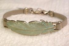 LUCKY BRAND BRACELET, PATINA FEATHER ON TAN SUEDE, GOLDTONE METAL, NWT, $35