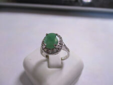 Goegeous Large Stone Sterling Silver Emerald Ring with CZ's real gems size 8
