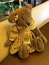 "Boyds Collection Corinna Bear Plush NICE Jointed 16"" Vintage Style Cotton Dress"