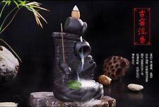 Ceramic Kiln Jar Censer Smoke Backflow Cone Incense Burner & 7 CONES