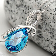 Blue Crystal & Silver Necklace Pendant Chain - New Xmas Gifts For Her Girlfriend