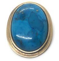 Vintage Sterling Silver Necklace 925 Pendant Turquoise Gold Tone Vermeil