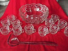 Punch Bowl w/ (13) Cups antique eapg US Glass co /Cromwell Knobby Bullseye Star