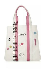 """Benefit 2019 """"Laughter Is the Best cosmetic"""" Tote Bag Pink/White With 7 Pins"""